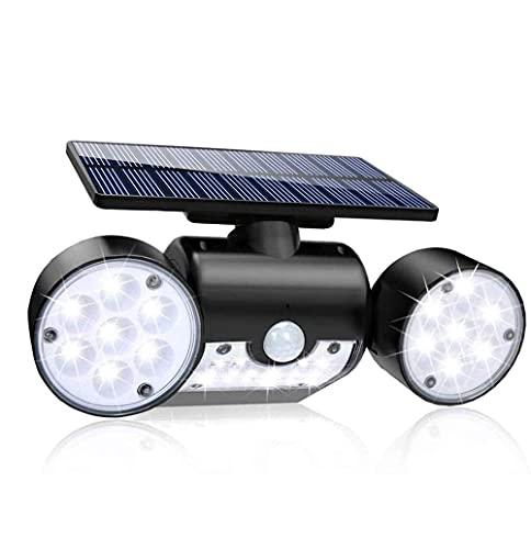 SMSOM LED Solar Security Lights Outdoor, sensor de movimiento solar superbrillante, luces solares exteriores impermeables con 3 cabezales ajustables para el patio, garaje