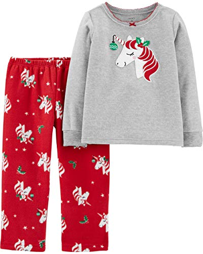 Carter's Little Girls' 2-Piece Fleece Christmas PJs (3T, Red/Heather Unicorn)