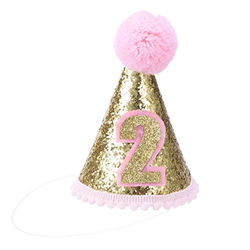 Toyvian 2. Geburtstag Hut Glitzer Kegel Hut verstellbare Tiara Stirnbänder funkeln Prinzessin Geburtstag Hut für Baby Mädchen Junge (pink)