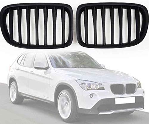 Parrilla Delantera Apta para BMW E84 X1 Series 2010-2015 Parrillas Delanteras de riñón Deportivo Negro Mate - Par