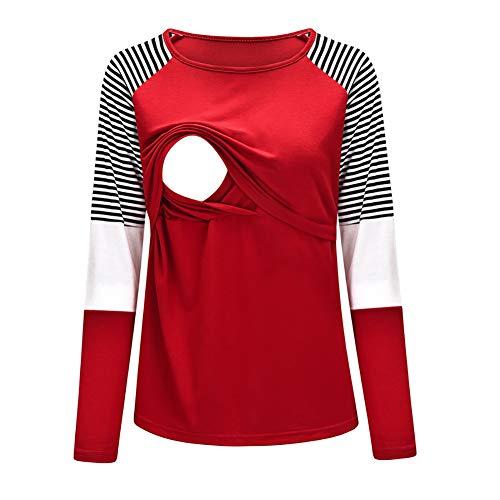 Générique Femmes de la Mode d'allaitement à Manches Longues d'allaitement Maternité Tops Casual Vêtements - Rouge - Small