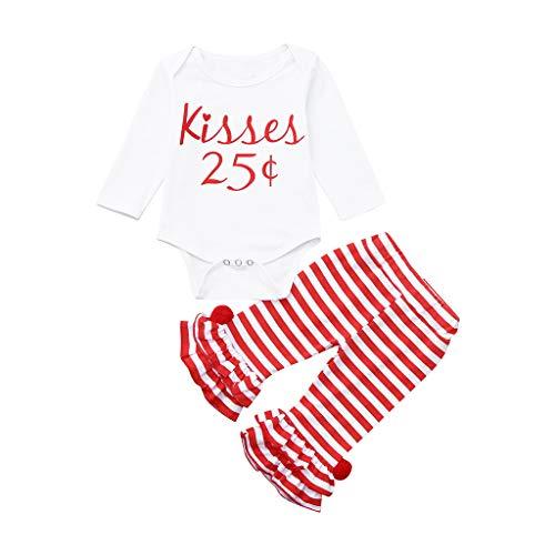 Baby Junge Mädchen Kleidung Set Brief Strampler Tops Babybody Gestreifte Hosen Set Valentine Outfits Set, Weiß, 9-12 Monate
