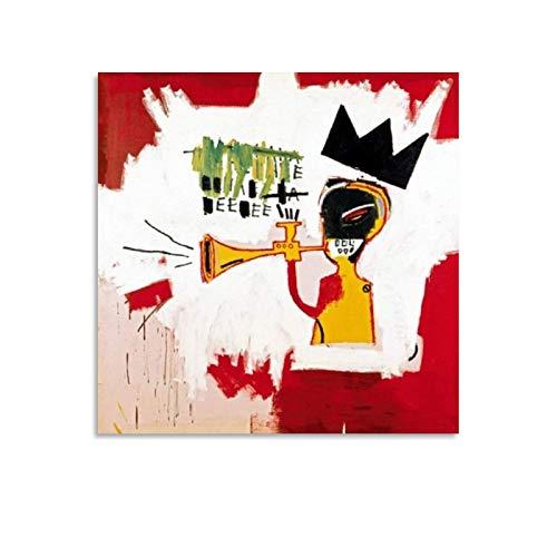 Poster décoratif sur toile Motif trompette, Jean-Michel Basquiat, 1984, 40 x 40 cm