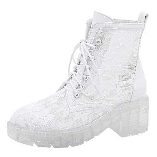 Etebella Damen Spitze Stiefeletten mit Blockabsatz Transparent Plateau Schnürstiefeletten Lochmuster Mesh Sandalen Schuhe(Weiß,39)