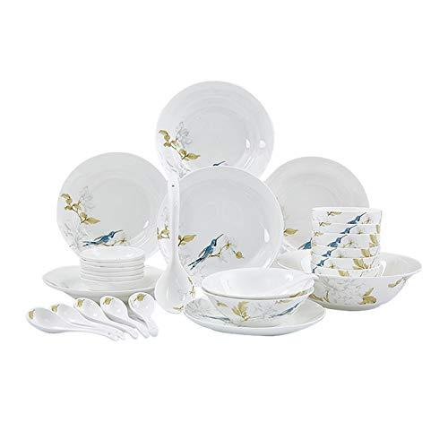DHCZZRS774 Platos de Comida Juego de vajillas de Porcelana 28 Piezas Elegante Estilo Pastoral vajilla Conjunto Cocina Cocina Juego, Servicio para 6, Placas y Cuencos Conjuntos Platos de Cena pequeños