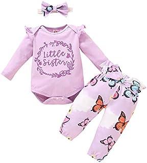 DERCLIVE DERCLIVE Baby-Kleidungs-Set für Mädchen, gerüscht, Strampler  Schmetterling-Hose  Kopfband, 3-teilig
