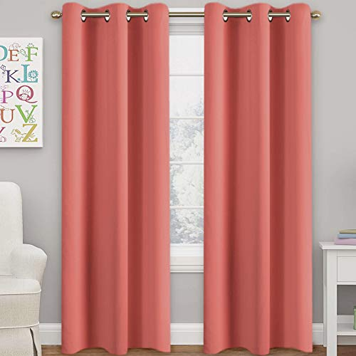 """Turquoize Solid Blackout Drapes, Room Darkening, Coral, Themal Insulated, Grommet/Eyelet Top, Nursery/Living Room Curtains Each Panel 42"""" W x 84"""" L (Set of 2 Panels)"""