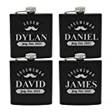 Custom Engraved and Personalized Black Flask Sets for Groomsmen Best Man - Whiskers Style (4)