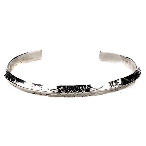Tskies Sterling Silver Navajo Stacker Bracelet for Women Hand Stamped Finish Luxury Southwest