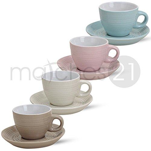 matches21 Espressotassen 8-tlg. Set Pastellfarben einfarbig in beige creme rosa mintgrün Porzellan je 5 cm hoch / 50 ml