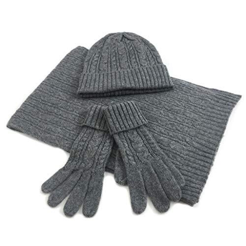 Set van 3 hothap vrouwen twist gevlochten vlechtpatroon eenkleurig warm sjaal beanie muts en handschoenen Wie gezeigt dark grey