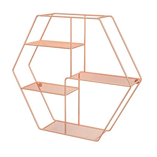 SONGMICS Hexagonal Wall Shelf, Metal Hanging Shelf with 4 Mesh Shelves, 60.5 x 12 x 53 cm, Decorative Floating Shelf, 2 Screws Included, for Office, Living Room, Rose Gold Colour LFS004A01