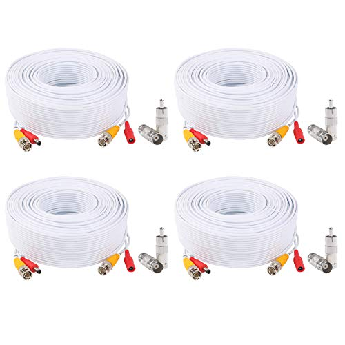 Lonnky BNC Video Power Cable Pre-Made All-in-One Video Security Camera Cable Wire Cord with BNC Connectors and RCA Adapters for CCTV DVR Surveillance System, White,(4 Pack 100 Feet 30M)