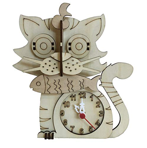 3D Puzzle of a Desk Clock Cat – DIY Model Kit for Adults and Kids - Animal Kitty Cat Jigsaw Puzzle - Light Wood Color