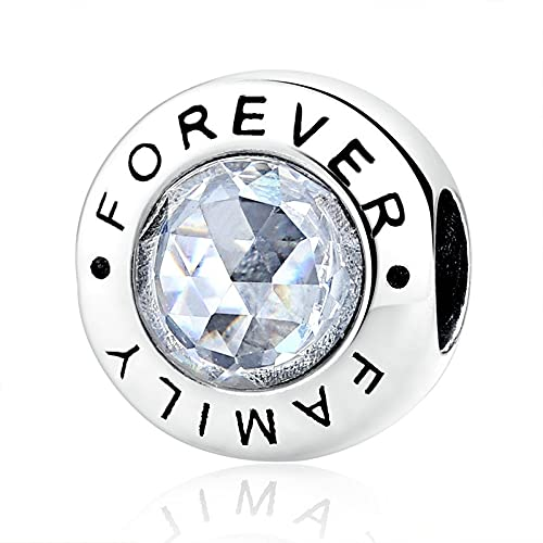 LIIHVYI Pandora Charms para Mujeres Cuentas Plata De Ley 925 Classic Family Forever Clear Fashion Jewelry Cms Compatible con Pulseras Europeos Collars