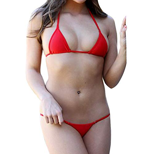 SHERRYLO Bademode Damen Mini Micro Bikini Solid Badeanzug Sexy Thong Swimsuit