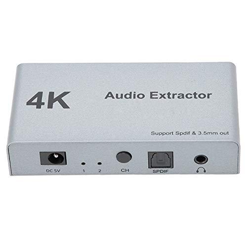 Rodipu Extractor de Audio HDMI, Convertidor de Audio HDMI a HDMI, Control Manual 4K 30hz Distribuidor de Audio Digital HDMI 2 en 1 Salida, para conversión de Audio Extracto de Audio