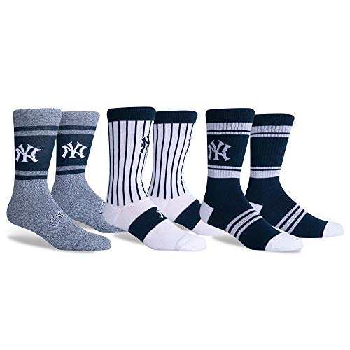 New York Yankees PKWY by Stance Dugout 3-Pack Crew Socks (Large (Men