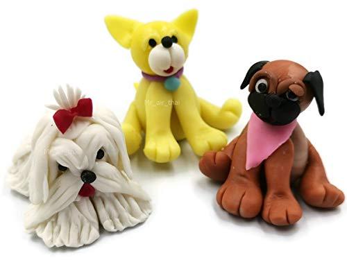 Mr_air_thai_Miniature D#05 Miniatur-Hundewelpen, Feengarten, Ton, Figuren, Möbel, Puppenhaus, 3 Stück