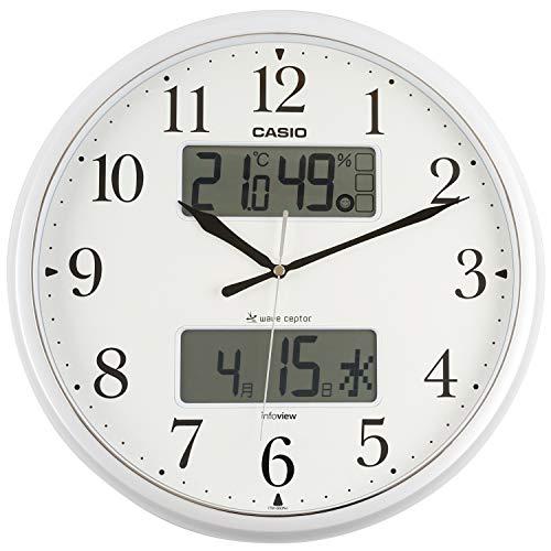 CASIO(カシオ) 掛け時計 電波 シルバー 直径35cm アナログ 常時点灯 生活環境 温度 湿度 カレンダー 表示 ITM-660NJ-8JF