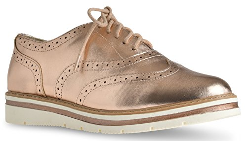 Women's Tinsley Lace Up Platform Brogue Trim Oxford Flats Sneakers Loafers By LUSTHAVE Dark Penny 8