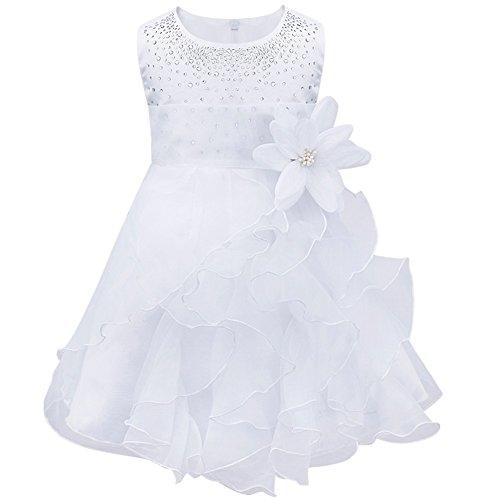 Freebily Baby Mädchen Kleid Festlich Prinzessin Blumen Kleid Partykleider Taufkleid Blumenmädchenkleid Hochzeit Babykleid in Gr.62-98 Weiß 74-80