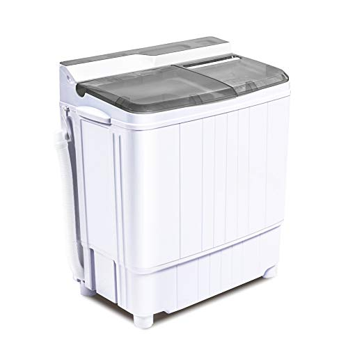INTERGREAT Portable Washing Machine Mini 17.6 Lbs Compact Washer Machine And Dryer Combo w/11 Lbs Small Twin Tub Washer and 6.6 Lbs Spin Cycle for Camping, Apartments, Dorms, College Rooms, Rv's ( Grey )