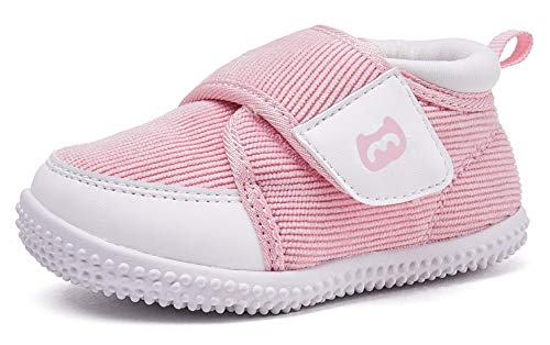 THEE BRON Infant Toddler Baby Soft Sole Leather Shoes for Girls Boys Walking Sneakers (18-24 Months-13.5cm, Pink)