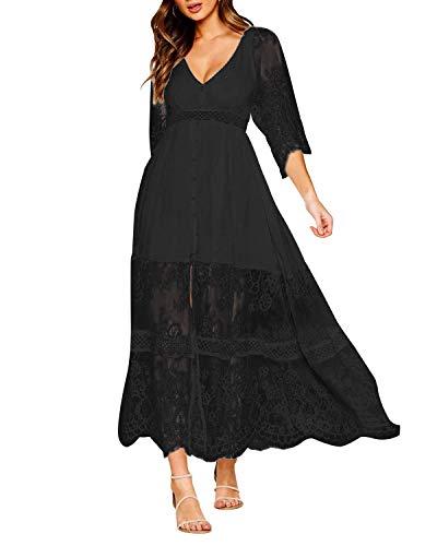 Style Dome Damen Schulterkleid Langarm Boho Kleid Blumenmuster Strandkleid Sommerkleider Lang Maxikleid 6 Schwarz S