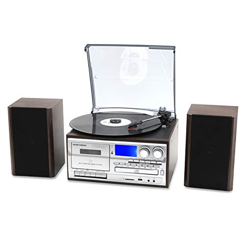 Musitrend Wireless Record Player 8 in 1 3 Speed Bluetooth Vintage Turntable with 20 Watt Bookshelf Speakers CD Cassette Vinyl Player AM/FM Radio USB Recorder Aux-in RCA Line-Out