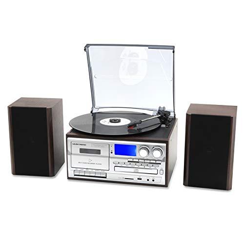 Musitrend Wireless Record Player 8 in 1 3 Speed Bluetooth Vintage Turntable with 20 Watt Bookshelf...