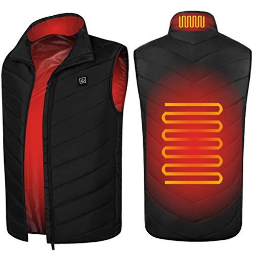 SH-JS Heated Vest for Men Lightweight USB Charging Electic Heated Jacket Washable Warm Vest for Outdoor Camping Hiking Golf(Battery not Included)