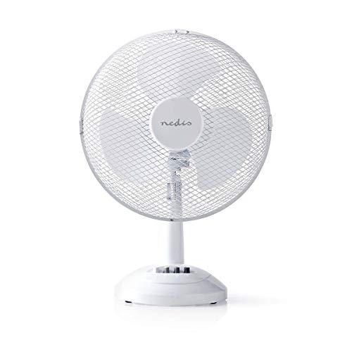 NEDIS Ventilateur de Table Ventilateur de Table | Alimentation Secteur | Diamètre: 30 cm | 35 W | Oscillation | 3 Vitesses | Noir Blanc 30 cm