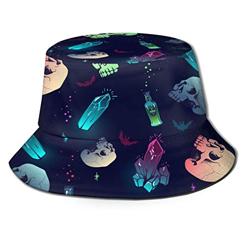 Sombrero de Pesca,Patrón Transparente de Vector con Calavera de Cristal y Botellas,Senderismo para Hombres y Mujeres al Aire Libre Sombrero de Cubo Sombrero para el Sol