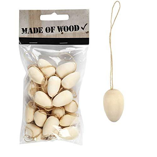 YooKreativ Ostern Mini-Eier, Mini Holz-Eier zum Aufhängen, Mischholz, 20 Stck, Osterdeko Eier
