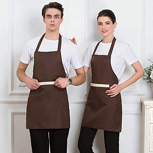 Küche und Kochen Damen Schürze,Polyester Baumwolle hängenden Hals Schürze,Hot Pot Shop Grill Küchenchef Tee Shop Overalls Schürze @ braun,verstellbare Kochschürze mit Taschen
