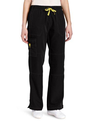 WonderWink womens Four-Stretch Sporty Cargo Pant, Black, X-Large