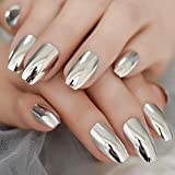 MISUD Coffin Fake Nails Full Cover Silver Gorgeous Magic Metallic Mirror Press-on Nails Chrome Art Flase Nails for Ballerina and Office Lady