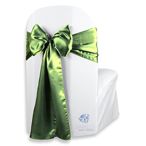 Sparkles Make It Special 50 pcs Satin Chair Cover Bow Sash - Sage Green - Wedding Party Banquet Reception - 28 Colors Available