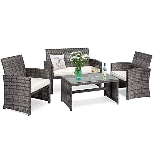 Tangkula 4 PCS Wicker Patio Conversation Set, Outdoor Rattan Sofas with Table Set, Patio Furniture Set with Soft Cushions & Tempered Glass Coffee Table for Poolside Courtyard Balcony (1, Beige)