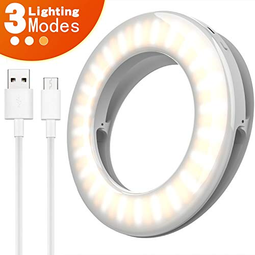 Ring Light for iPhone, Selfie Light Ring for iPhone, 3 Light Modes Rechargeable Circle Light, Adjustable Brightness Mini Clip On Ring Light for Phone Laptop Ipad Video Recording, Conferencing