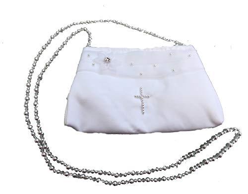 LadyMYP©Kommuniontasche Brautbeutel mit Perlen in Kreuzform mit Langer Perlenkette für Hochzeit Kommunion weiß/Ivory (weiß)