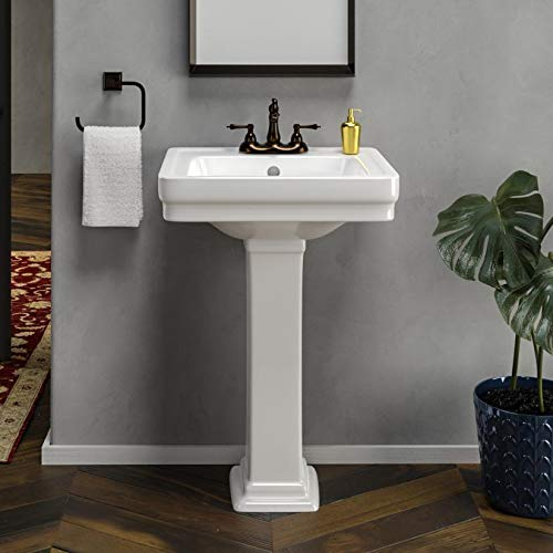 """Magnus Home Products Tifton 100 Vitreous China Pedestal Bathroom Sink, 4"""" Centerset, White, 78.0 lb"""