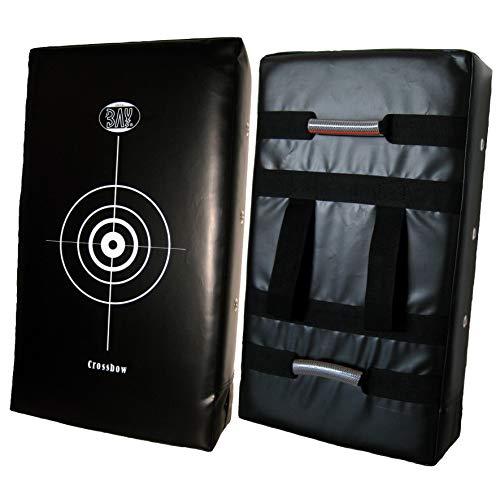 BAY® 75 cm Crossbow riesen Schlagpolster, Schlagkissen, Pratze, Kickboxen Thaiboxen Muay Thai, schwarz mit Zielscheibenaufdruck