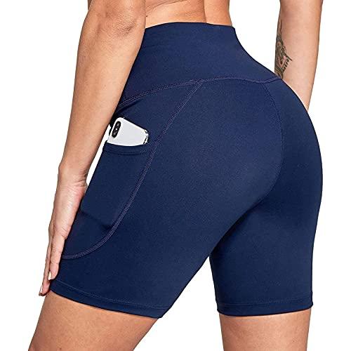 Yurmony Leggins Mujer 2026 de Color Liso con Bolsillos Laterales Pantalón Corto Deporte Mujer de Cintura Alta Elegante Shorts Deportivos de Mujer con Transpirables Pantalón Corto Mujer de Fitness