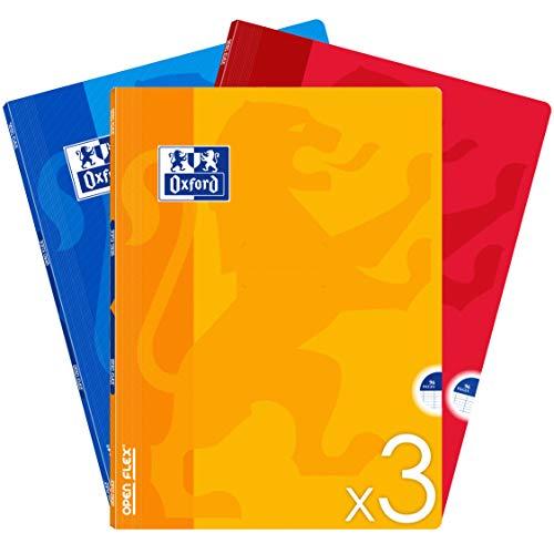 OXFORD Lot de 3 Cahiers 24x32 Grands Carreaux Seyès 96 Pages Couverture Polypro OpenFlex 90g Couleurs Assorties