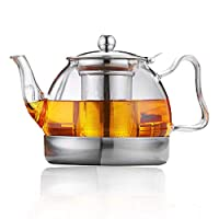 sharemee - la migliore teiera in vetro resistente al calore con infusore per tè in fiore e in foglie sfuse, teiera sicura con piano cottura 1200ml / 34oz