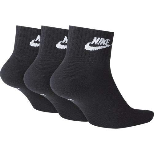 Nike Men's U NK NSW EVRY ESSENTIAL ANKLE Socks, Black/White, Large