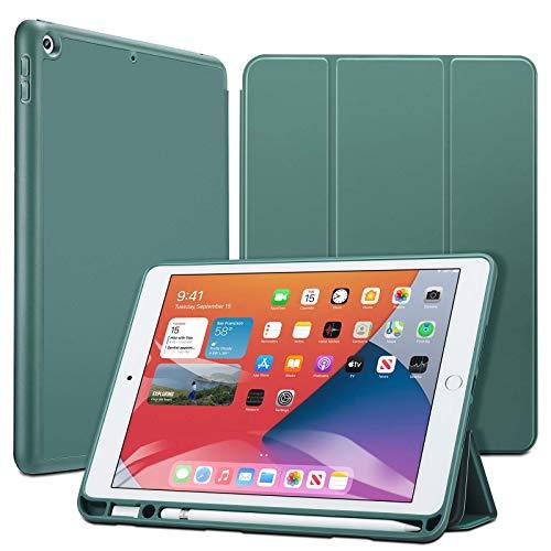 ESR iPad 8 ケース 2020 iPad 10.2 ケース 第7世代 2019 ペンシル収納可能 ソフトフレキシブル 耐衝撃 傷防止 オートスリープ ウェイク ペンシルホルダー付き 三つ折りスタンド iPad 10.2インチ用 ライトグリン