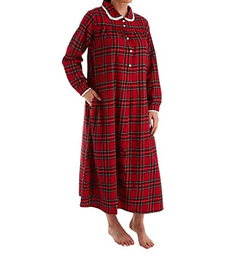 Plus Lanz Nightgown - Long Peter Pan Collar Flannel in Red Plaid (Red/Black Plaid, 2X)